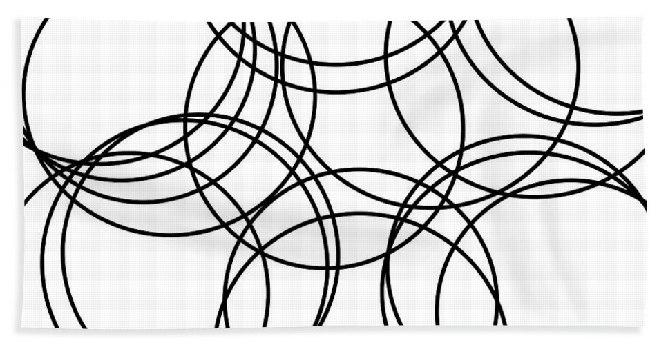 Abstract Hand Towel featuring the digital art Black And White Hoops by Geraldine Cote