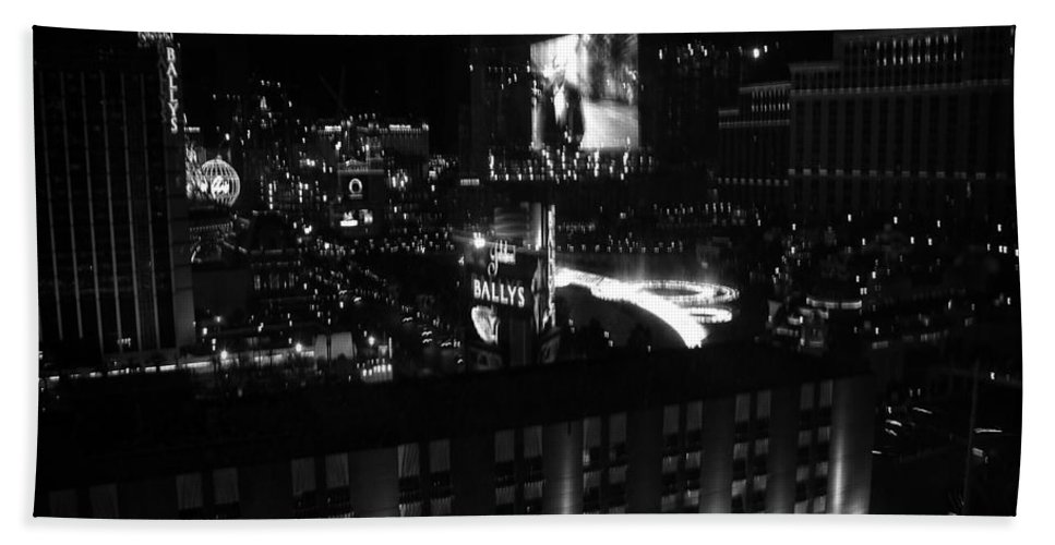 Vegas Hand Towel featuring the photograph Black And White In Vegas by Image Takers Photography LLC
