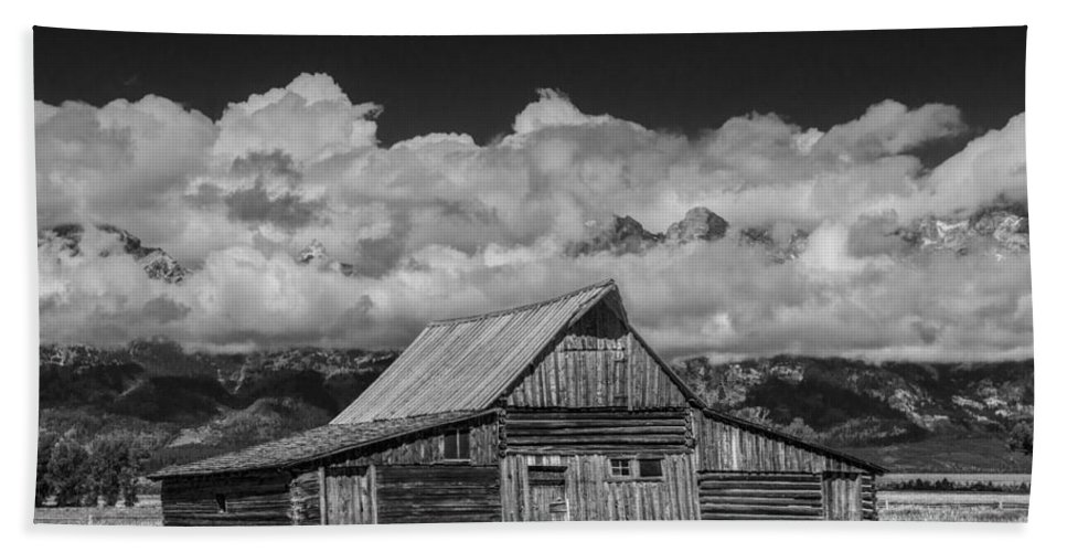Wood Bath Sheet featuring the photograph Black And White Photo Of The T.a. Moulton Barn In The Grand Tetons by Randall Nyhof