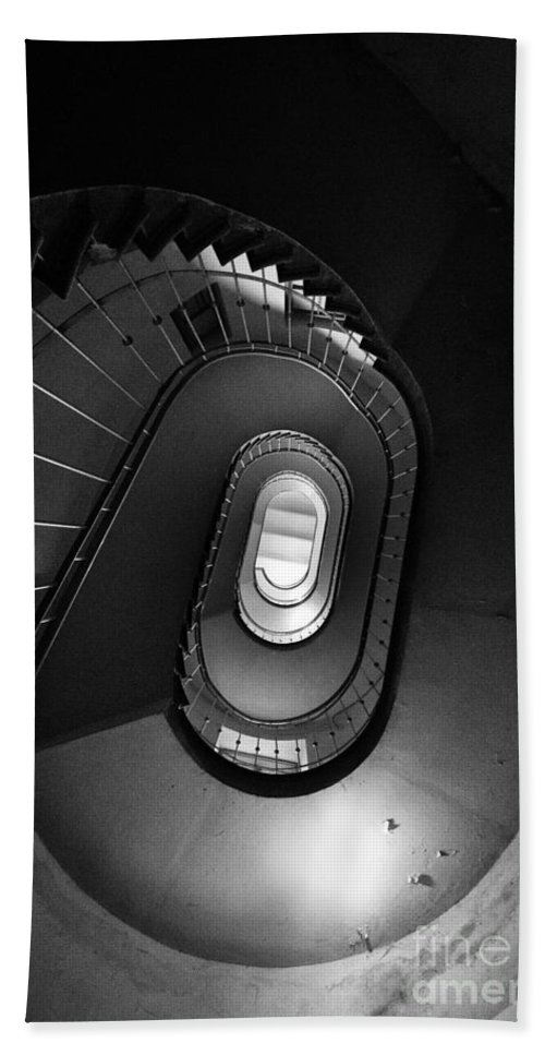 Interior View Hand Towel featuring the photograph Black And White Spiral Staircaise by Jaroslaw Blaminsky