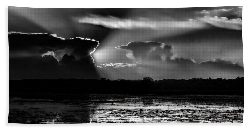 Dale Kauzlaric Hand Towel featuring the photograph Black And White Sunset Over The Mead Wildlife Area by Dale Kauzlaric