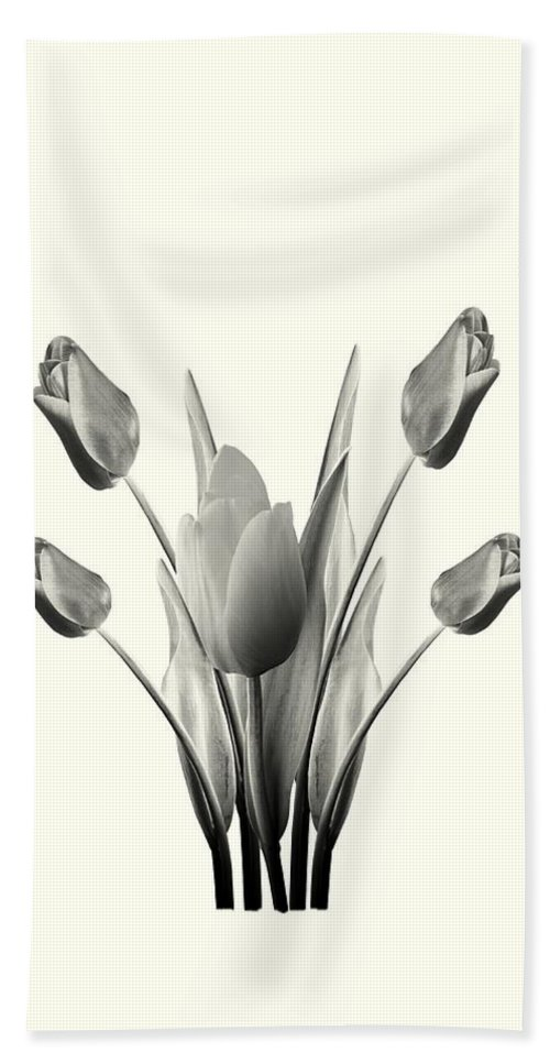Tulips Hand Towel featuring the digital art Black And White Tulips Drawing by David Dehner