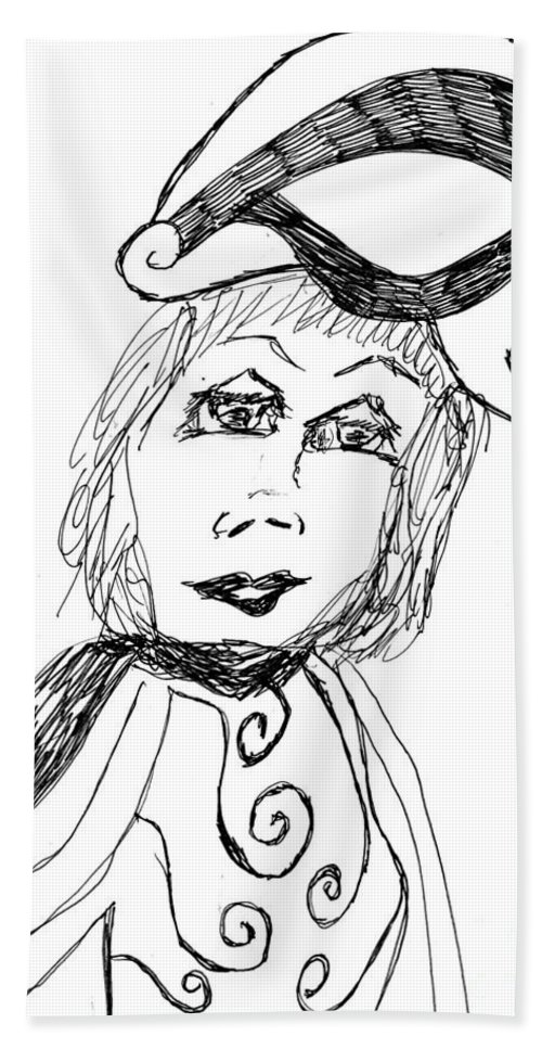 Lady Wearing A Black And White Outfit Hand Towel featuring the drawing Black And White Two by Elinor Rakowski