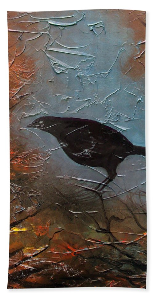 Landscape Bath Sheet featuring the painting Black Bird by Sergey Bezhinets