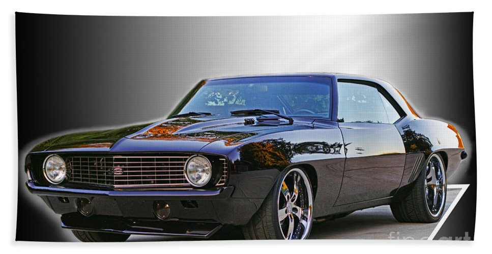 Cars Hand Towel featuring the photograph Black Camero by Randy Harris