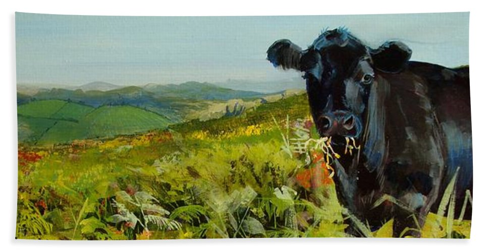 Dartmoor Bath Sheet featuring the painting Black Cow Dartmoor by Mike Jory