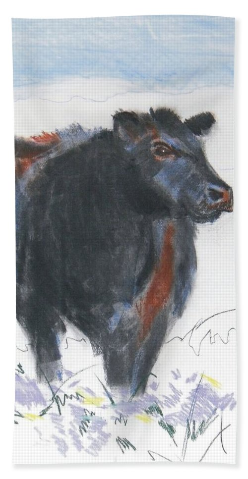 Mike Jory Cow Bath Sheet featuring the painting Black Cow Drawing by Mike Jory
