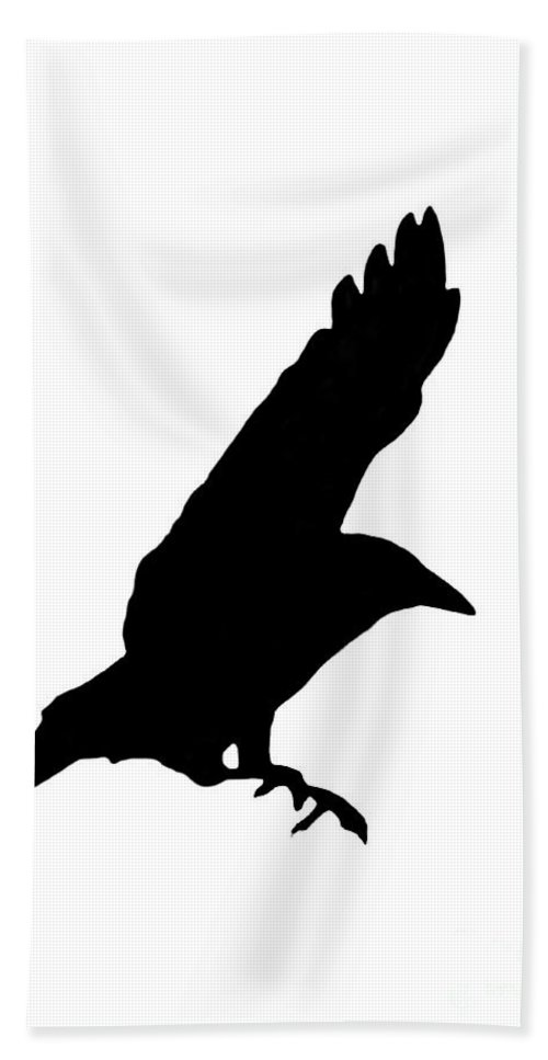 Crow Bath Sheet featuring the photograph Black Crow On White by Linsey Williams