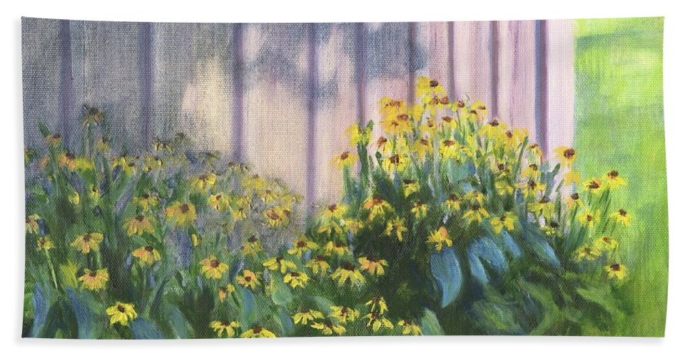 Flowers Hand Towel featuring the painting Black Eyed Susans by Deborah Butts