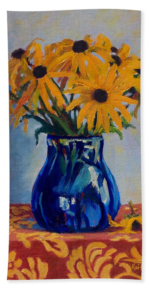 Impressionism Bath Sheet featuring the painting Black Eyed Susans by Keith Burgess