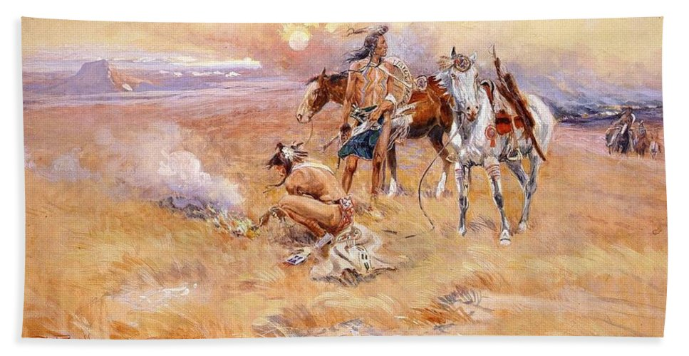 Charles Russell Hand Towel featuring the digital art Black Feet Burning The Buffalo Range by Charles Russell