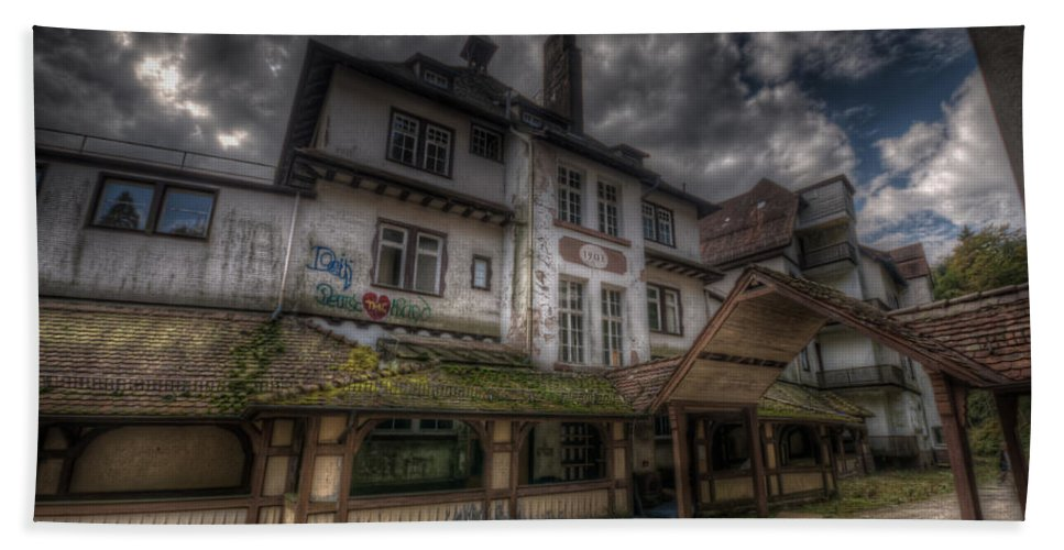 Urbex Hand Towel featuring the digital art Black Forest Hospital by Nathan Wright