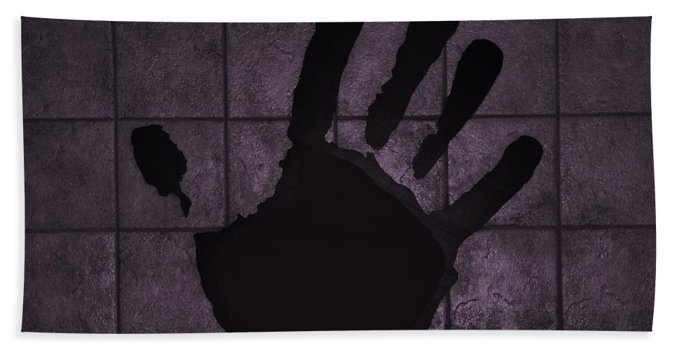 Hand Bath Sheet featuring the photograph Black Hand Pink by Rob Hans