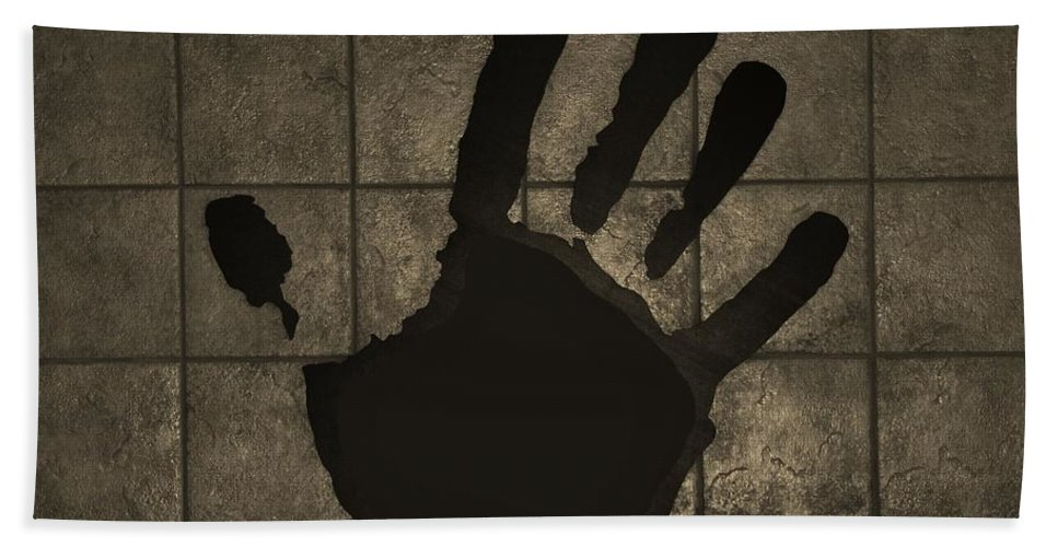 Hand Hand Towel featuring the photograph Black Hand Sepia by Rob Hans