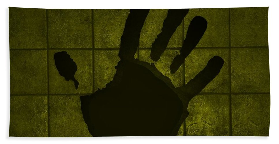 Hand Hand Towel featuring the photograph Black Hand Yellow by Rob Hans