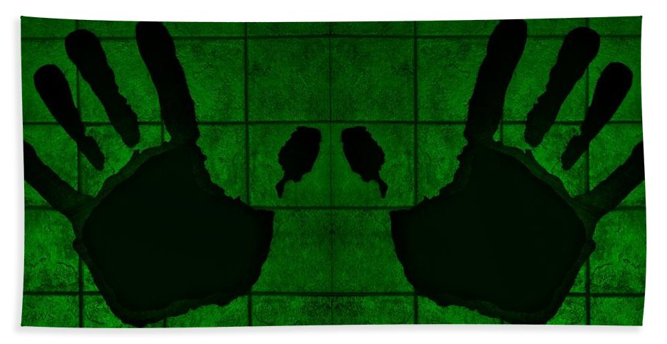 Hand Bath Sheet featuring the photograph Black Hands Green by Rob Hans