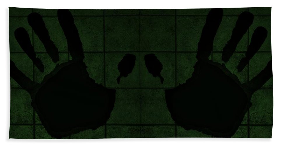 Hand Bath Sheet featuring the photograph Black Hands Olive Green by Rob Hans