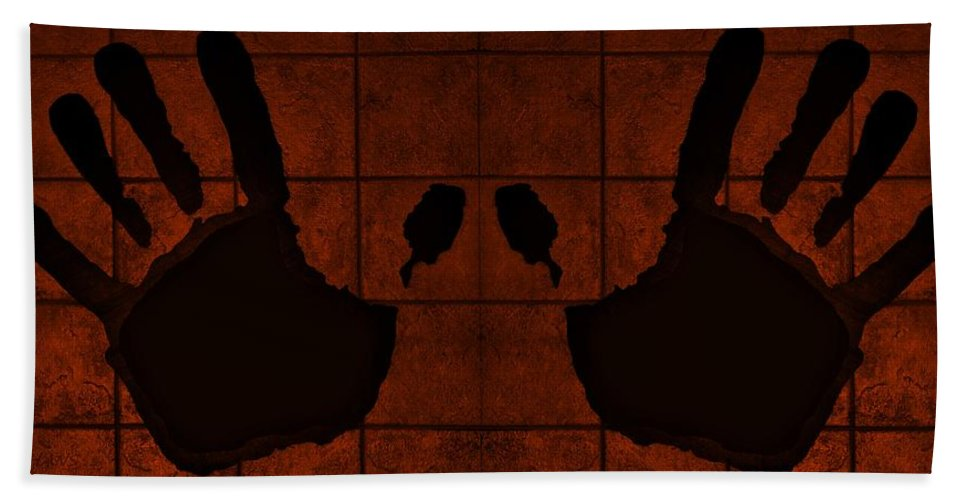 Hand Hand Towel featuring the photograph Black Hands Orange by Rob Hans