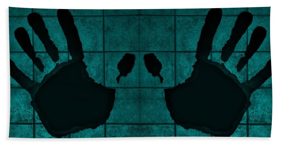 Hand Hand Towel featuring the photograph Black Hands Turquoise by Rob Hans