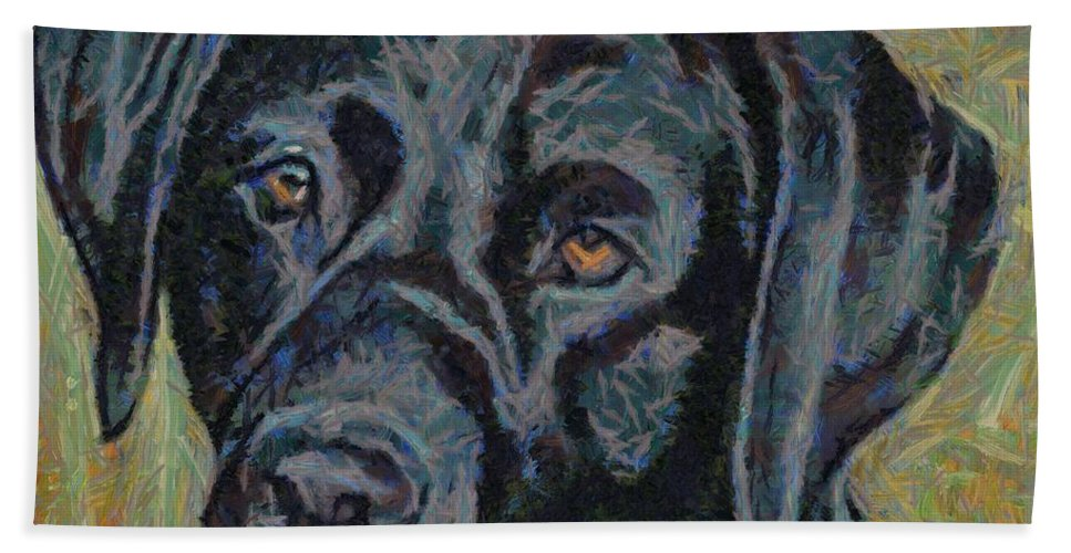 Dog Hand Towel featuring the painting Black Labrador by Dragica Micki Fortuna