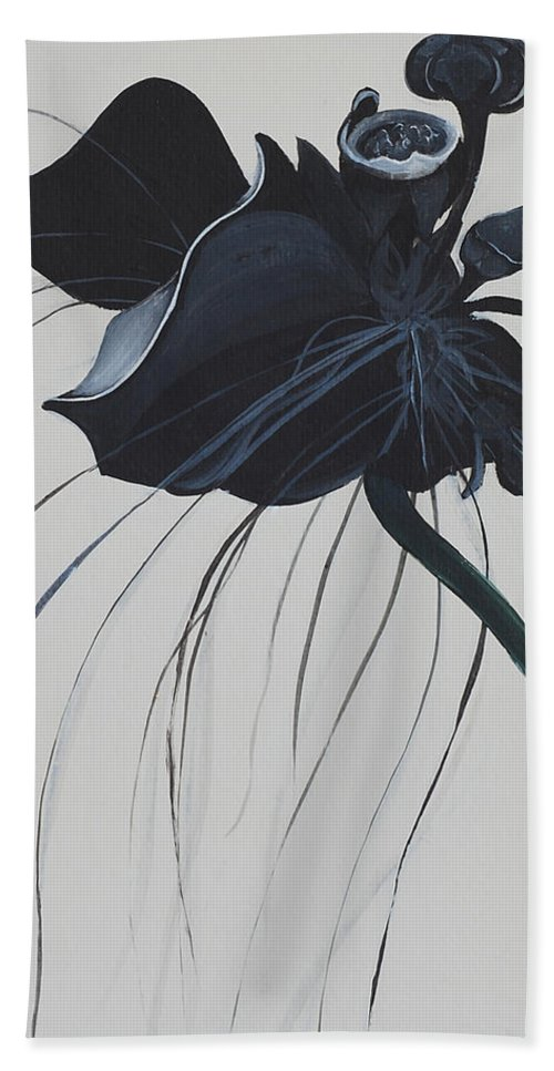 Black Orchid Bath Sheet featuring the painting Black Orchid by Catt Kyriacou