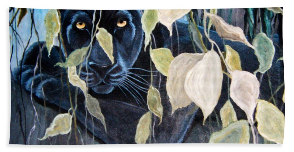 Black Panther Bath Sheet featuring the painting Black Panther 2 by Nick Gustafson