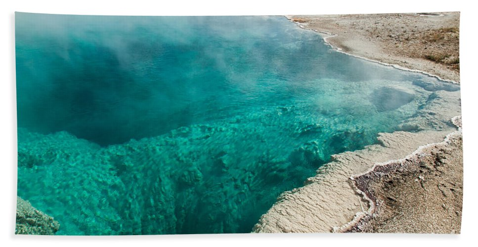 Afternoon Bath Sheet featuring the photograph Black Pool In West Thumb Geyser Basin by Fred Stearns