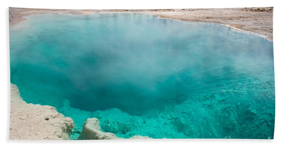 Autumn Hand Towel featuring the photograph Black Pool In West Thumb Geyser Basin In Yellowstone National Park by Fred Stearns