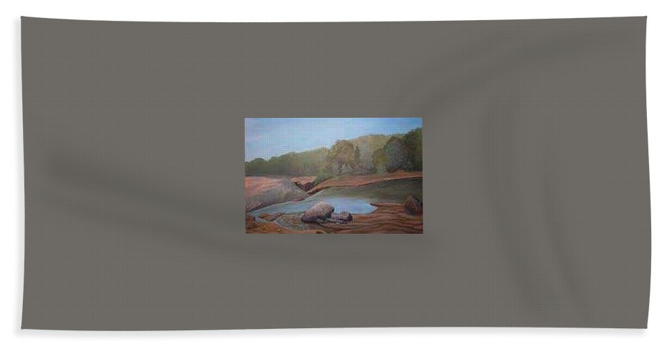 Rick Huotari Bath Towel featuring the painting Black River Falls by Rick Huotari