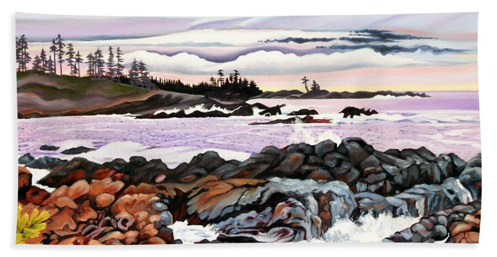 Tidal Pools Bath Sheet featuring the painting Black Rock View by Elissa Anthony