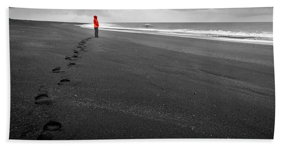 Atlantic Hand Towel featuring the photograph Black Sand by Alexey Stiop