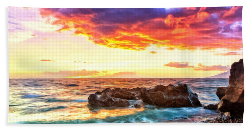Hawaii Bath Sheet featuring the painting Black Sand Sunset by Dominic Piperata