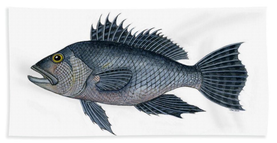 Black Bass Hand Towel featuring the painting Black Sea Bass 3 by Jennifer Creech