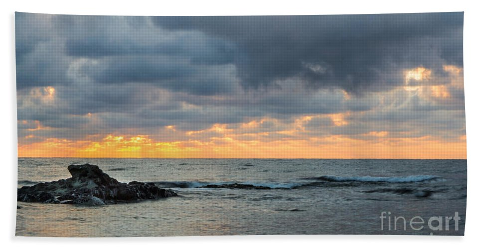 Black Sea Hand Towel featuring the photograph Black Sea Sunrise Before Storm by Jivko Nakev