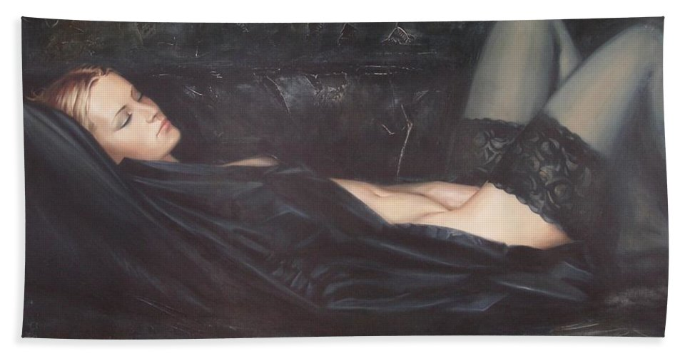 Ignatenko Hand Towel featuring the painting Black Silk by Sergey Ignatenko