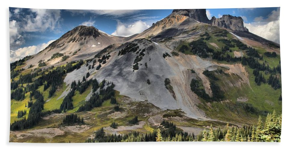 Black Tusk Bath Sheet featuring the photograph Black Tusk Over Alpine Meadows by Adam Jewell