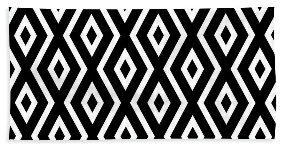 Black And White Bath Towel featuring the mixed media Black and White Pattern by Christina Rollo