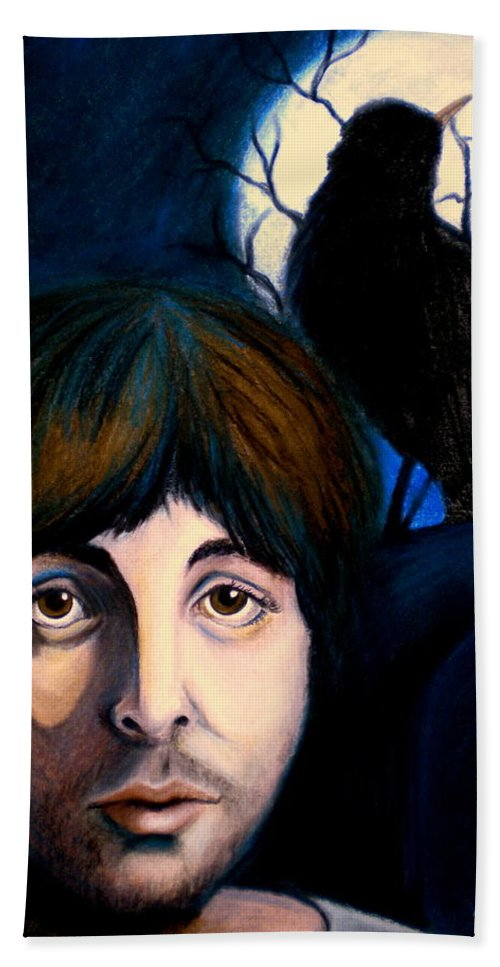 Paul Mccartney Bath Towel featuring the painting Blackbird by Debi Starr