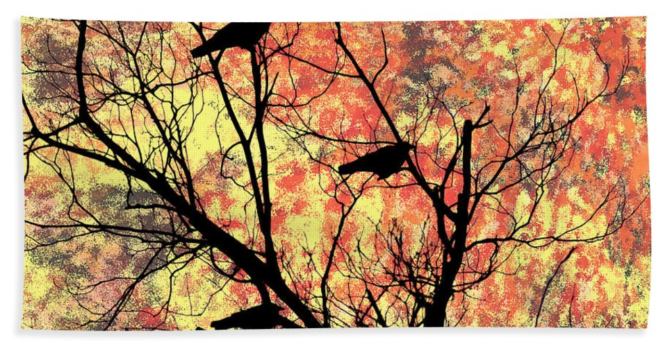 Blackbirds In A Tree Hand Towel featuring the photograph Blackbirds In A Tree by Bill Cannon