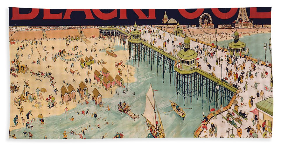 Vintage Bath Towel featuring the painting Blackpool by Tony Sarg