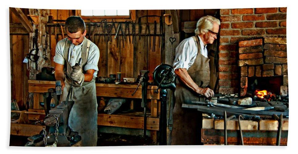 Blacksmith Hand Towel featuring the photograph Blacksmith And Apprentice by Steve Harrington