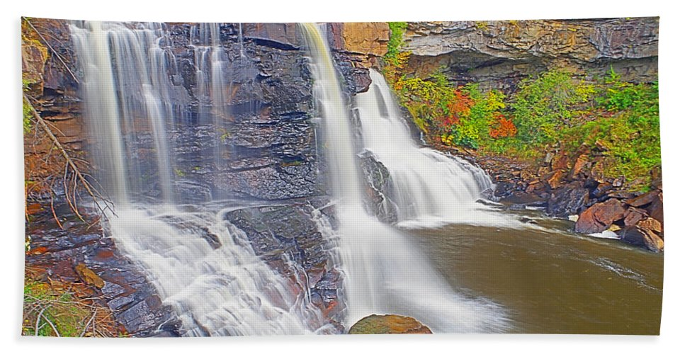 West Virginia Bath Sheet featuring the photograph Blackwater Falls Closeup by Rich Walter