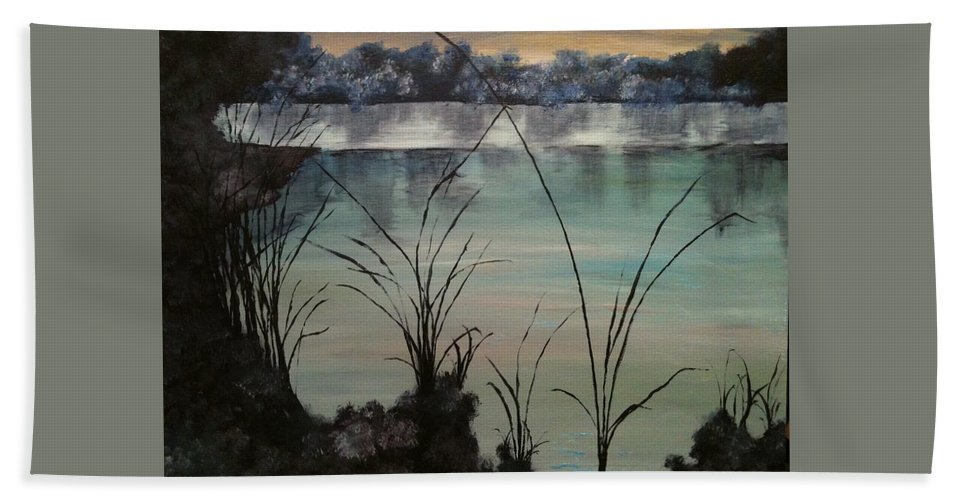 Landscape Hand Towel featuring the painting Herrick Lake by Laura Inniger