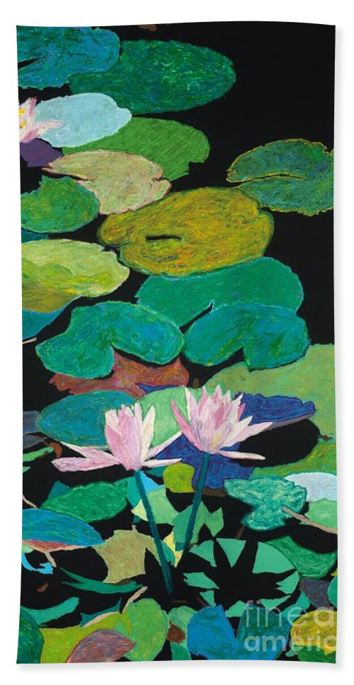 Landscape Hand Towel featuring the painting Blairs Pond by Allan P Friedlander