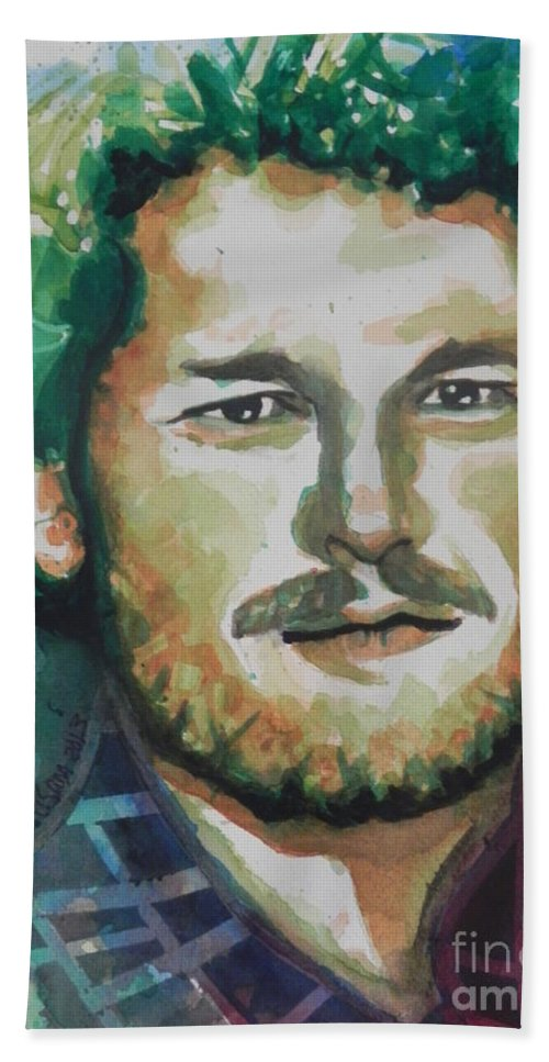 Watercolor Painting Bath Sheet featuring the painting Blake Shelton Country Singer by Chrisann Ellis