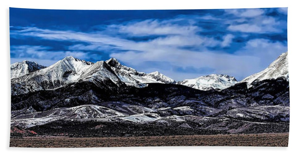 Blanca Mountains Hand Towel featuring the photograph Blanca Mountains Near Fort Garland Colorado by Jon Burch Photography