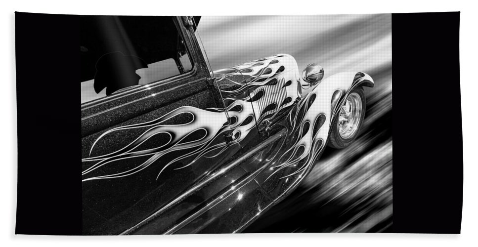 Hotrod Hand Towel featuring the photograph Blazing A Trail - Ford Model A 1929 In Black And White by Gill Billington