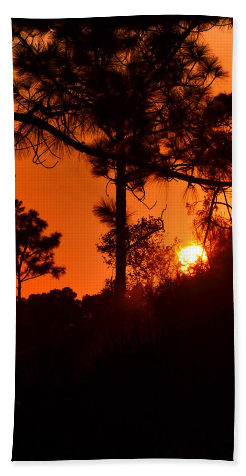Sunset Hand Towel featuring the photograph Blazing Sunset by DigiArt Diaries by Vicky B Fuller