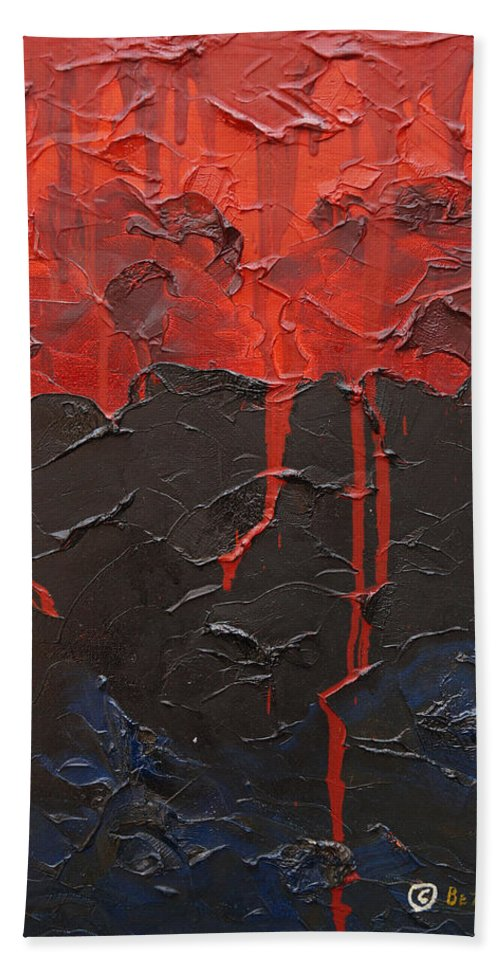 Fantasy Hand Towel featuring the painting Bleeding sky by Sergey Bezhinets