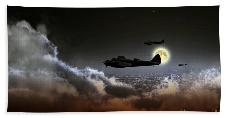 Bristol Bath Towel featuring the digital art Blenheim Nightfighters by J Biggadike